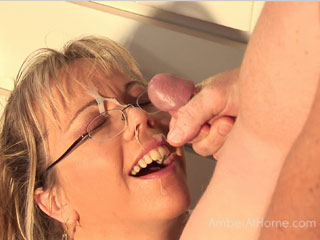 Jay fucks Amber in the kitchen and plasters a load of cum on her glasses and mouth before she has to go to work. from Amber at Home