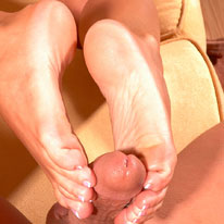 Amber gives her big cock buddy a foot job with her pedicured little feet. from Amber at Home