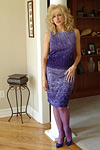 Racquel in purple stockings and dress; Set is rounded up with the mandatory cumshot on Racquel's face and tits. from Racquel Devonshire